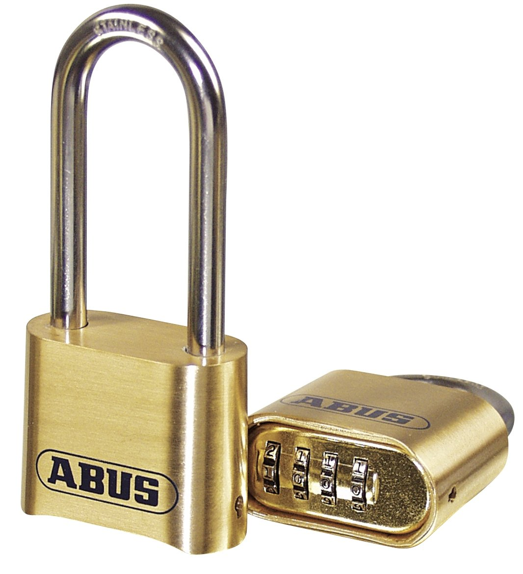 ABUS 180/50 Solid Brass Combination Padlock - Long Stainless Steel Shackle (2-1/2'')