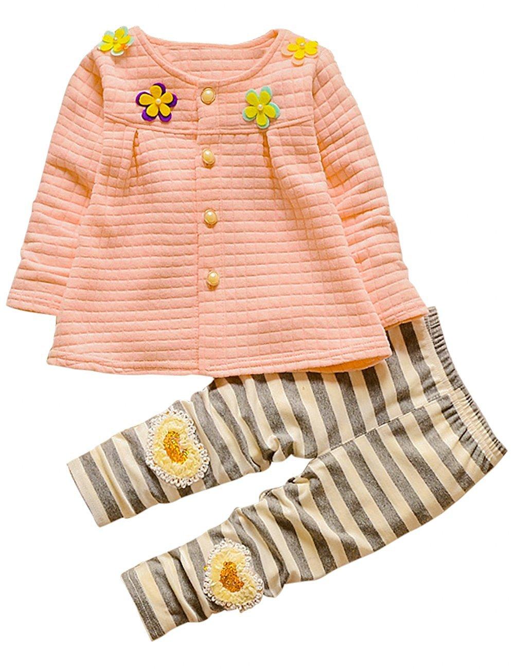 Toddlers Kids Girls Cardigan Top Leggings Pant Clothing Set Outfits