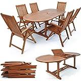 Salon de jardin Vanamo en bois dur FSC- 1x table & 6x chaises pliantes - Eucalyptus