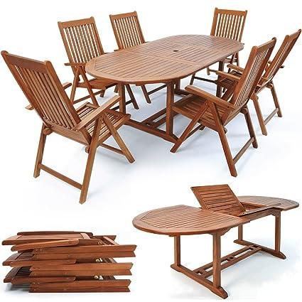 Amazon.com: Mesa Sillas de madera Muebles de jardín Set ...