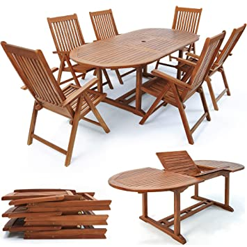 Wooden Garden Dining Table and Chairs Set Outdoor Patio Conservatory ...