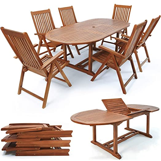 wooden garden dining table and chairs set vanamo outdoor patio conservatory oval furniture