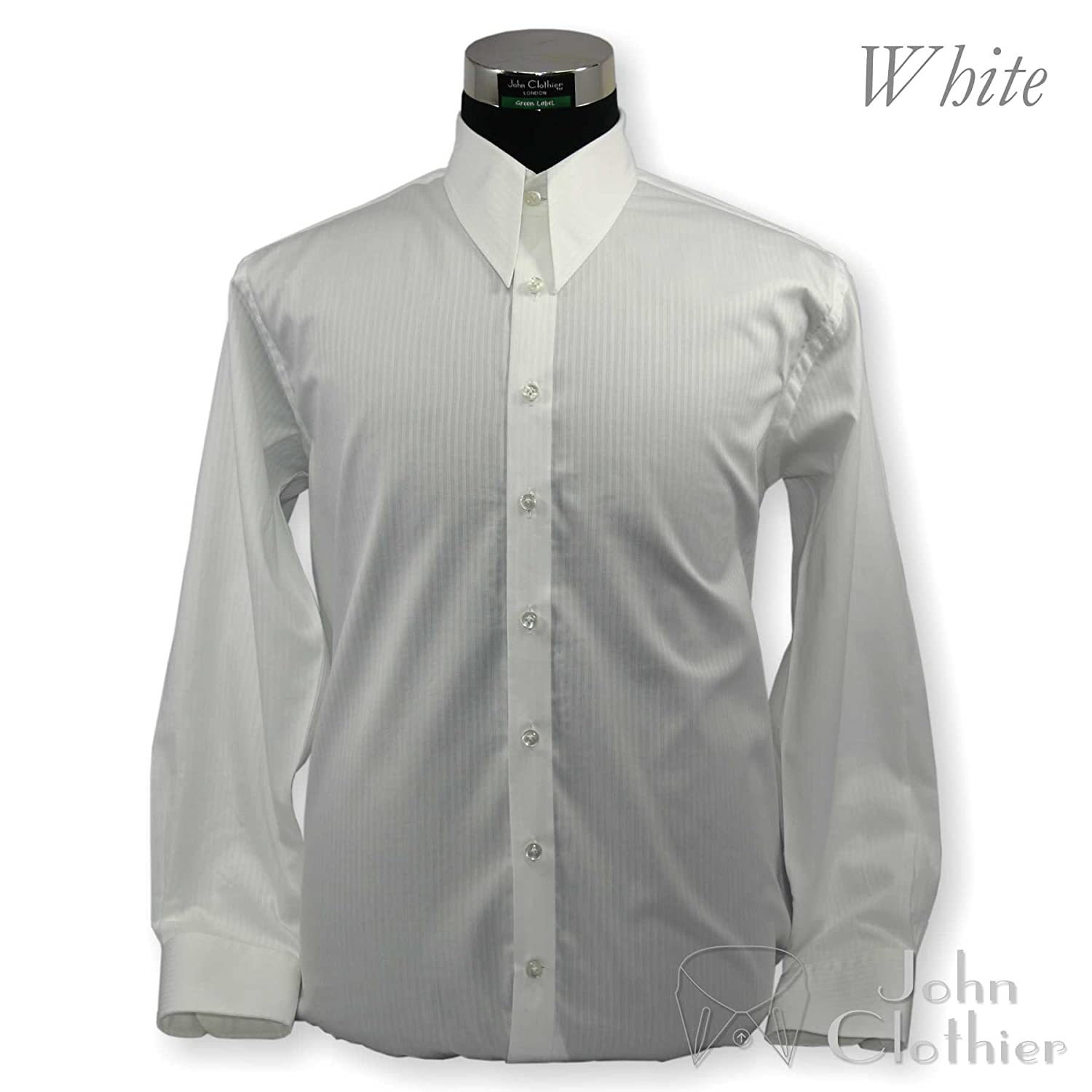 1940s 1950s Mens Spear Point Collar Shirts Vintage Antique Style Long Sleeves 100/% Cotton Relax Fit Shirts White Dobby 200-09