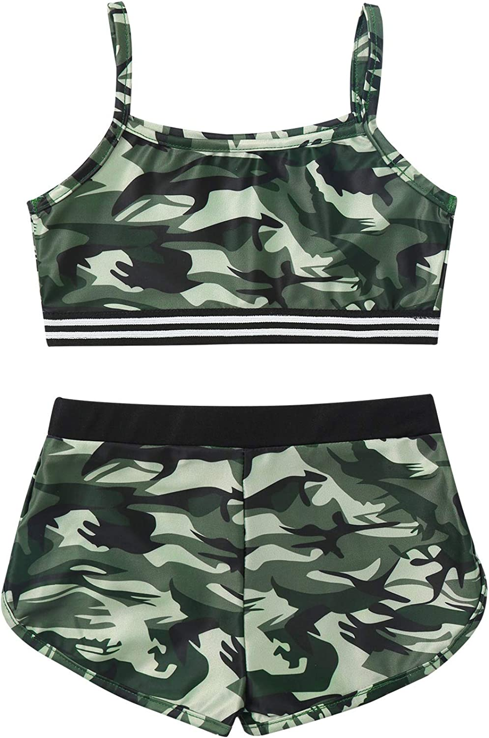 TiaoBug Kids Girls Athletic Tracksuit 2 Pieces Dance Sports Outfits Spaghetti Strap Camouflage Crop Top and Shorts Set