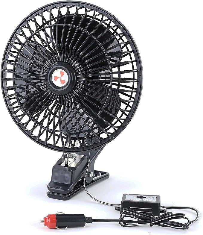 Ventilador 12 V con pinza, para coche, camping, barco, encendedor de coche: Amazon.es: Coche y moto