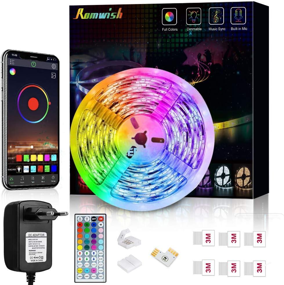 Tiras LED 5M, Romwish 5050 SMD RGB LEDs con Control Remoto de 44 Botones & Control Bluetooth, para la Habitación, Dormitorio, Fiestas, Bares