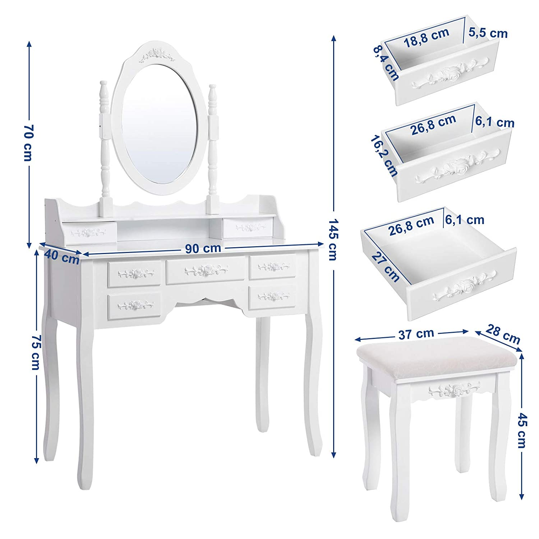 Espejo y Taburete Mesa de Maquillaje,Blanco RDT10W SONGMICS Tocador con 7 Cajones
