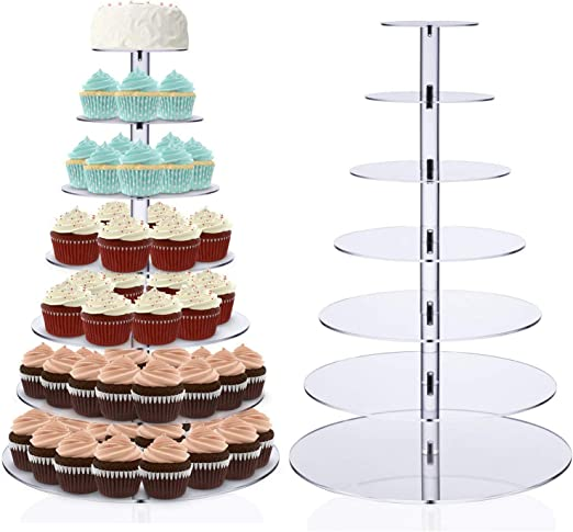 5//6//7 Tier Acrylic Cake Cupcake Stand Tray Dessert Display Tower Wedding//Party~