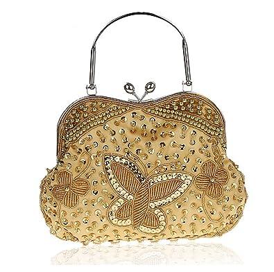 Satin Beading Butterfly Handmade Clutch Purse Evening Wedding Cocktail  Party Handbags (A Gold) 4d65f5159d924