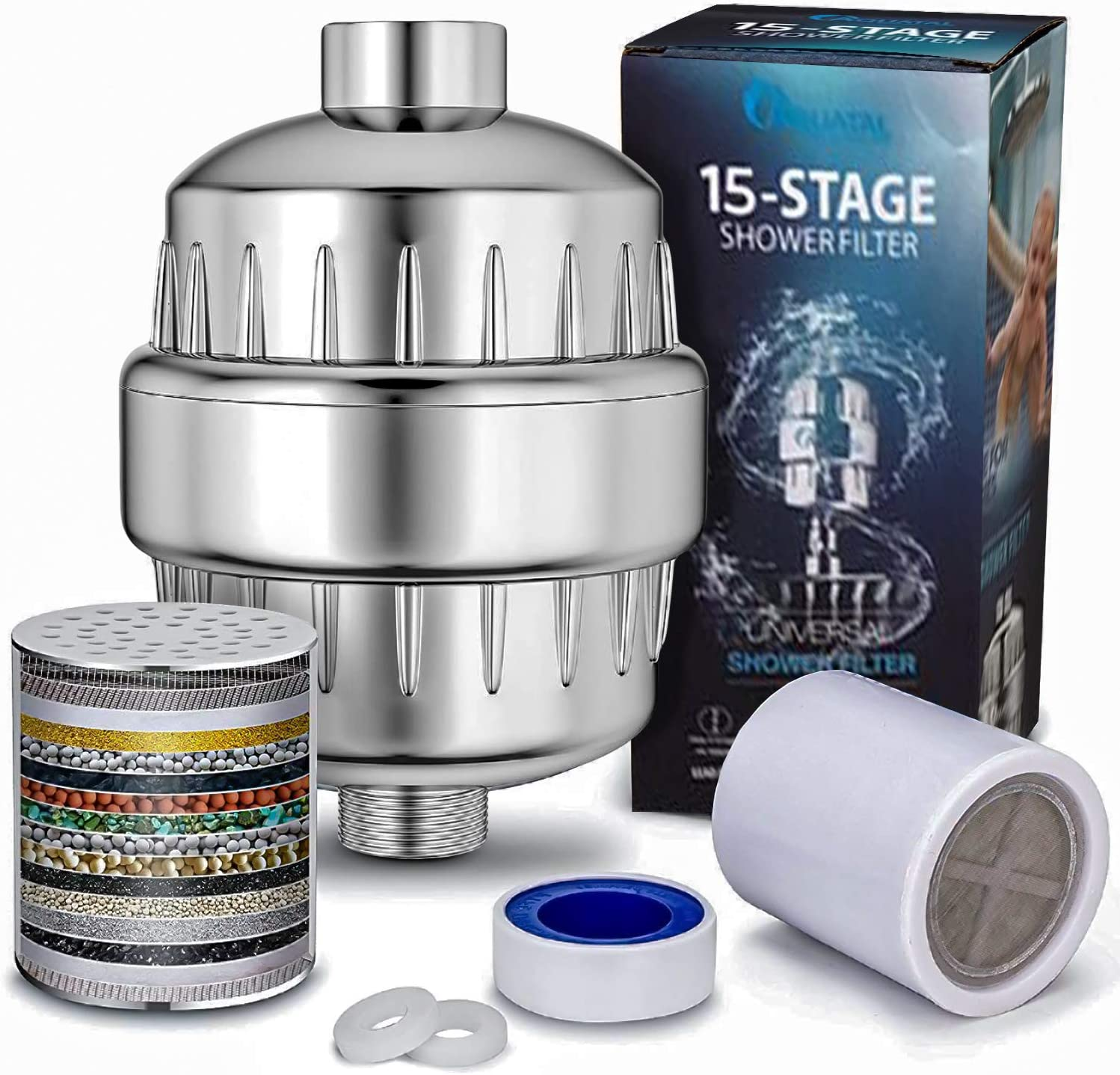 TurboTrade 15 Stage Water Shower Filter - Removes Chlorine, Fluoride & Harmful Substances Improves the Condition of Your Skin, Hair and Nails - 2 Cartridges Included - Showerhead Filter High Output