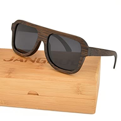 375294afe2 Polarized Bamboo Wooden Frame Sunglasses Men   Women with UV400 Polarized  Lenses JANGOUL (Brown
