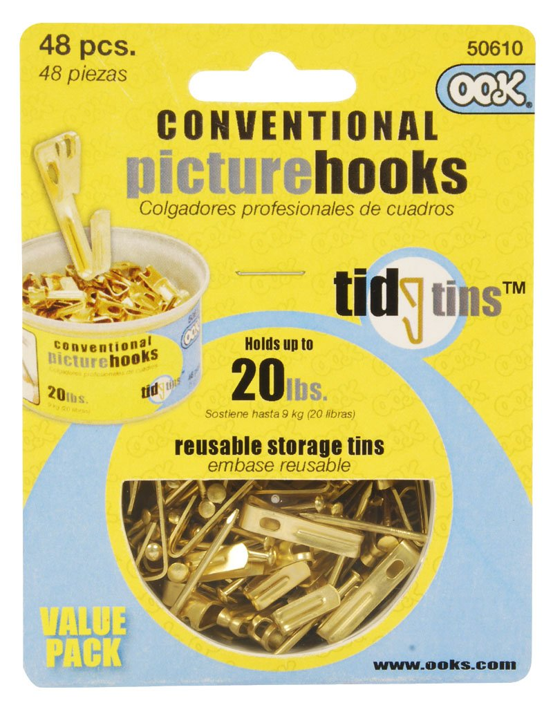 OOK 50610 Conventional Picture Hook Tidy Tin Supports Up to 20 Pounds, Brass, 30 sets 30 sets