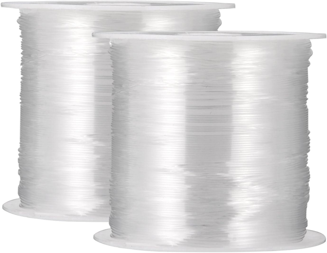2 Piezas 0,4 mm Alambre de Nylon Transparente Hilo de Abalorios No Elástico para Abalorios Bisutería Pulsera y Artesanía, 45 Metros Cada