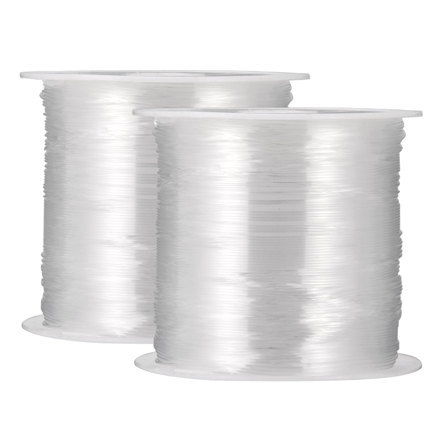 2 Packs 0.4 mm Clear Nylon Wire Non-stretchy Beading Threads for Beading Jewellery Bracelets and Crafts, 45 Meters Each BBTO