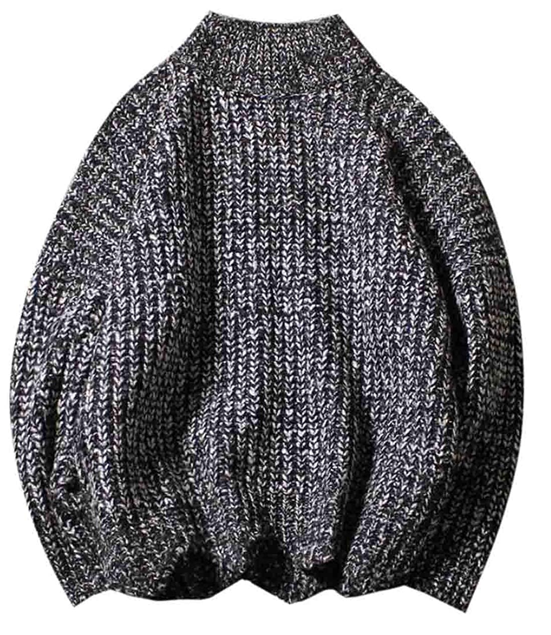 Spirio Mens Winter Casual Fashion Thicken Cable Twist Turtleneck Knitted Sweater