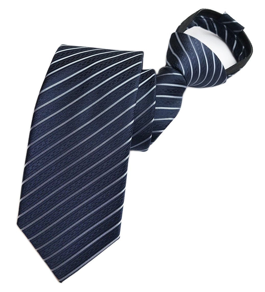 Elfeves Men's Striped Navy Blue Jacquard Woven Silk Tie Casual Evening Necktie