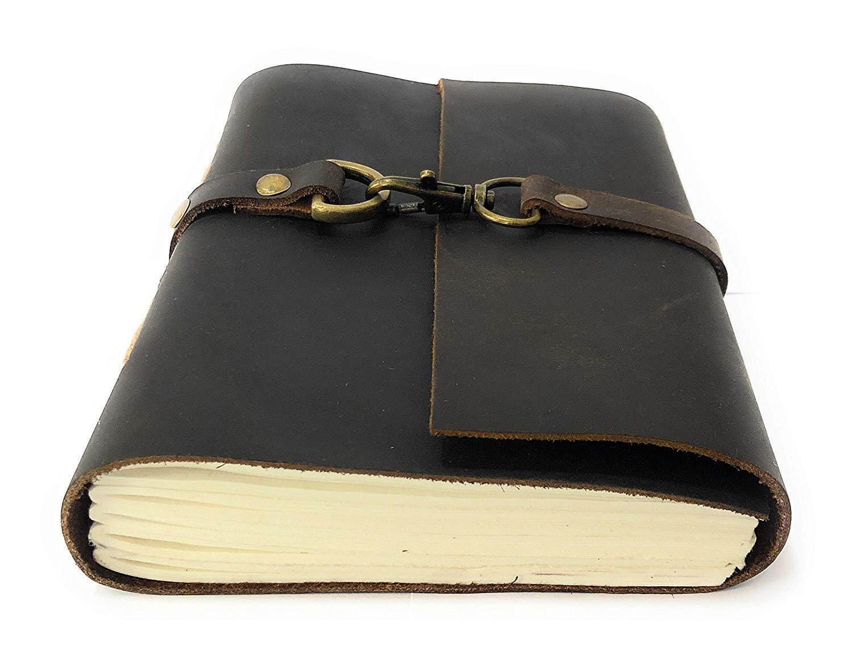 Woodland Leathers Limited Agenda de piel aut/éntica hecha a mano con cierre de papel para hombre y mujer b/úfalo, 12,7 x 17,8 cm