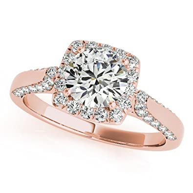 14k Gold Square Shaped Halo Diamond Accented Engagement Ring With