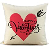 FIBEROMANCE Valentines Pillow Covers Red Heart and Arrow Decorative Cushion Cases Pillow Case for Sofa Couch Bedroom Car Spring Home Decor Cotton Square Pillowcase 18 x 18 Inch