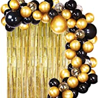 JOYYPOP Black Gold Balloons with Gold Tinsel Curtain Black Gold Balloon Garland for Wedding Birthday Party Supplies…