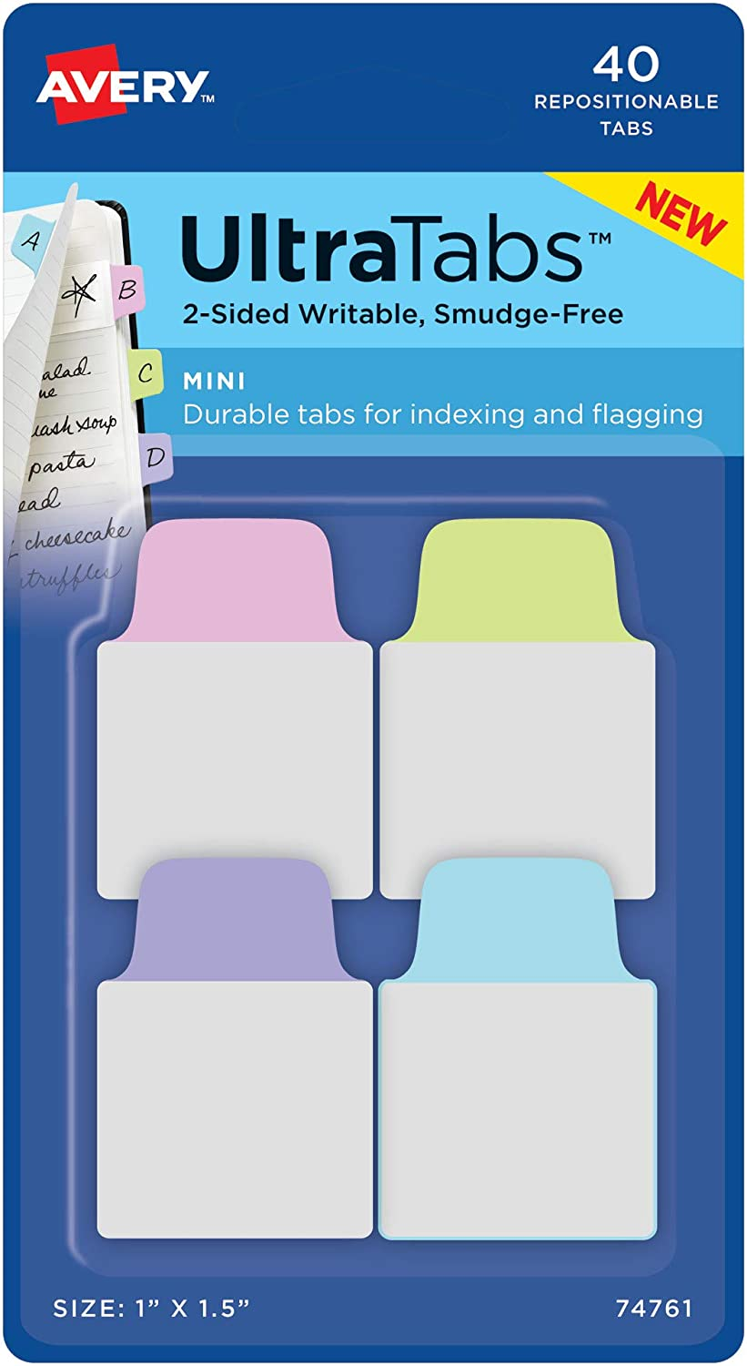 "Avery Mini Ultra Tabs, 1"" x 1.5"", 2-Side Writable, Pastel Purple/Blue/Pink, 40 Repositionable Tabs (74761)"
