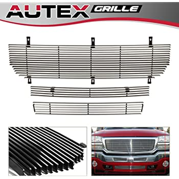 AUTEX G85371H Aluminum Upper Black Billet Grille Grill Insert Compatible with GMC Sierra 1500//1500 HD//2500 HD//3500 2003-2006,GMC Sierra 1500//2500 HD//3500 2007,GMC Sierra 2500 2003-2004