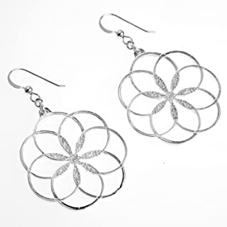 product image for 7 Rings of Peace Silver-dipped Earrings on French Hooks