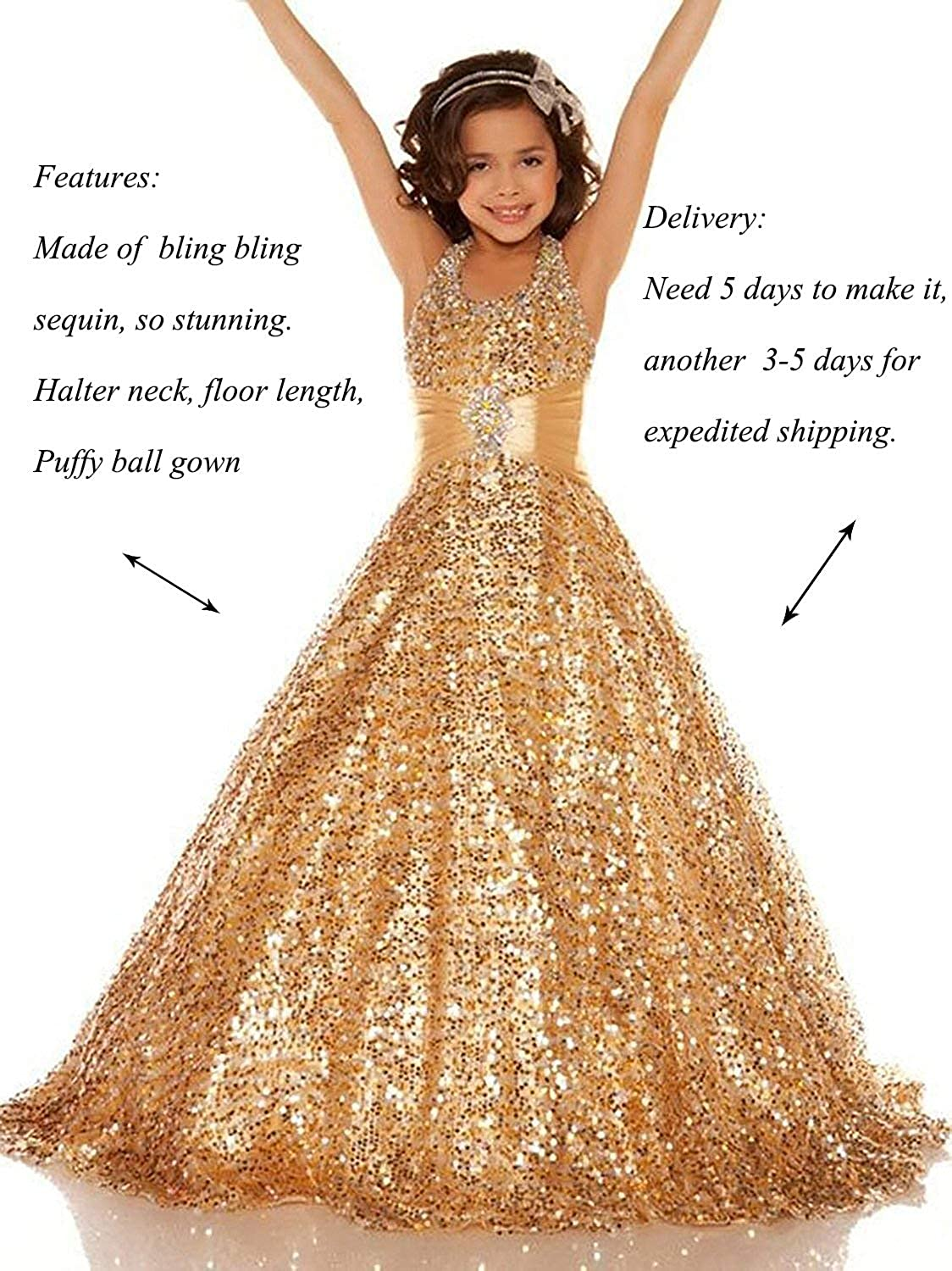 914830d316d0 Lisa Sequin Pageant Dresses for Girls 7-16 Formal Birthday Bridesmaid Dress
