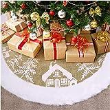 VOSAREA Christmas Tree Skirt, 48 inch Faux Fur Burlap Tree Skirt Mat Christmas Tree Ornaments Gift Rustic Xmas Tree…
