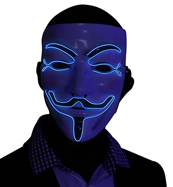 Amazon.com: Kandi Gear Blue Light up V for Vendetta Glow EL Wire LED Guy Fawkes Anonymous Mask: Clothing