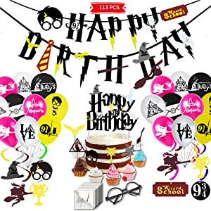 YoHold Wizard Glasses and Tattoos, Cake and Cupcake Toppers, Wizard Happy Birthday Banner, Wizard Balloons and Hanging Swirls for Various of Wizard Party Supplies Decorations; 113 Pcs in All