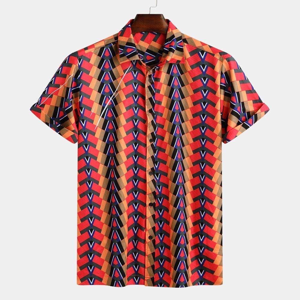 YenMY Shirts Mens Hawaiian Beach Printed Turn Down Collar Short Sleeve Loose Shirts M,Green