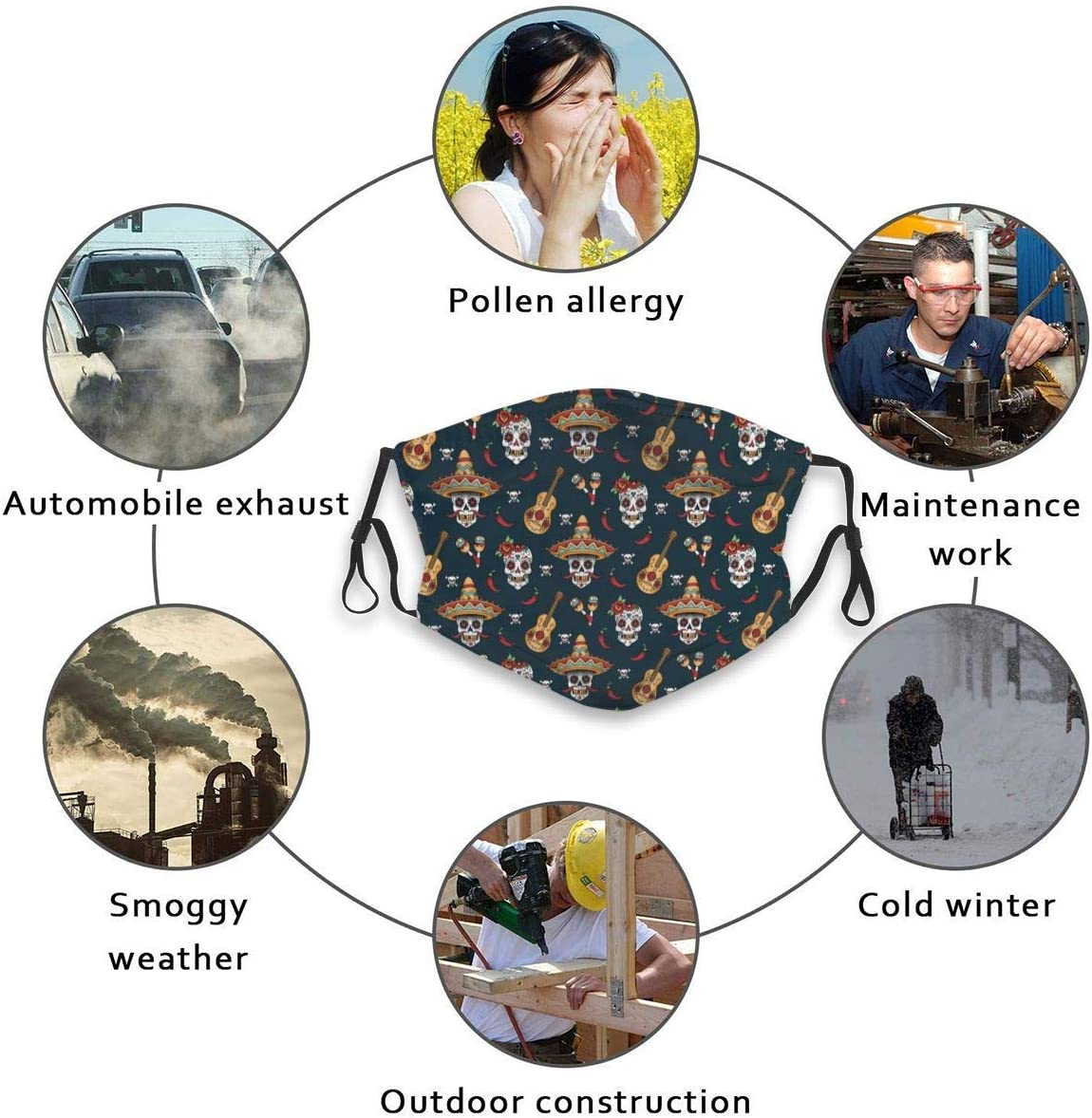Narustop Fan Mart Windproof Mouth Guard with Replaceable Filter Activated Carbon Dust Cover