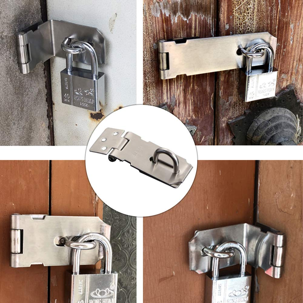 Padlock Hasp Door Lock Clasp Gate Latch Stainless Steel Lock Card Silver 3 inches