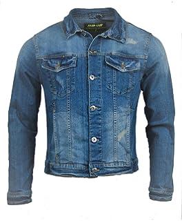 3508580cc4 Mens Stretch Denim Jean Jacket - Classic Western Distressed Vintage Style  Trucker Jacket