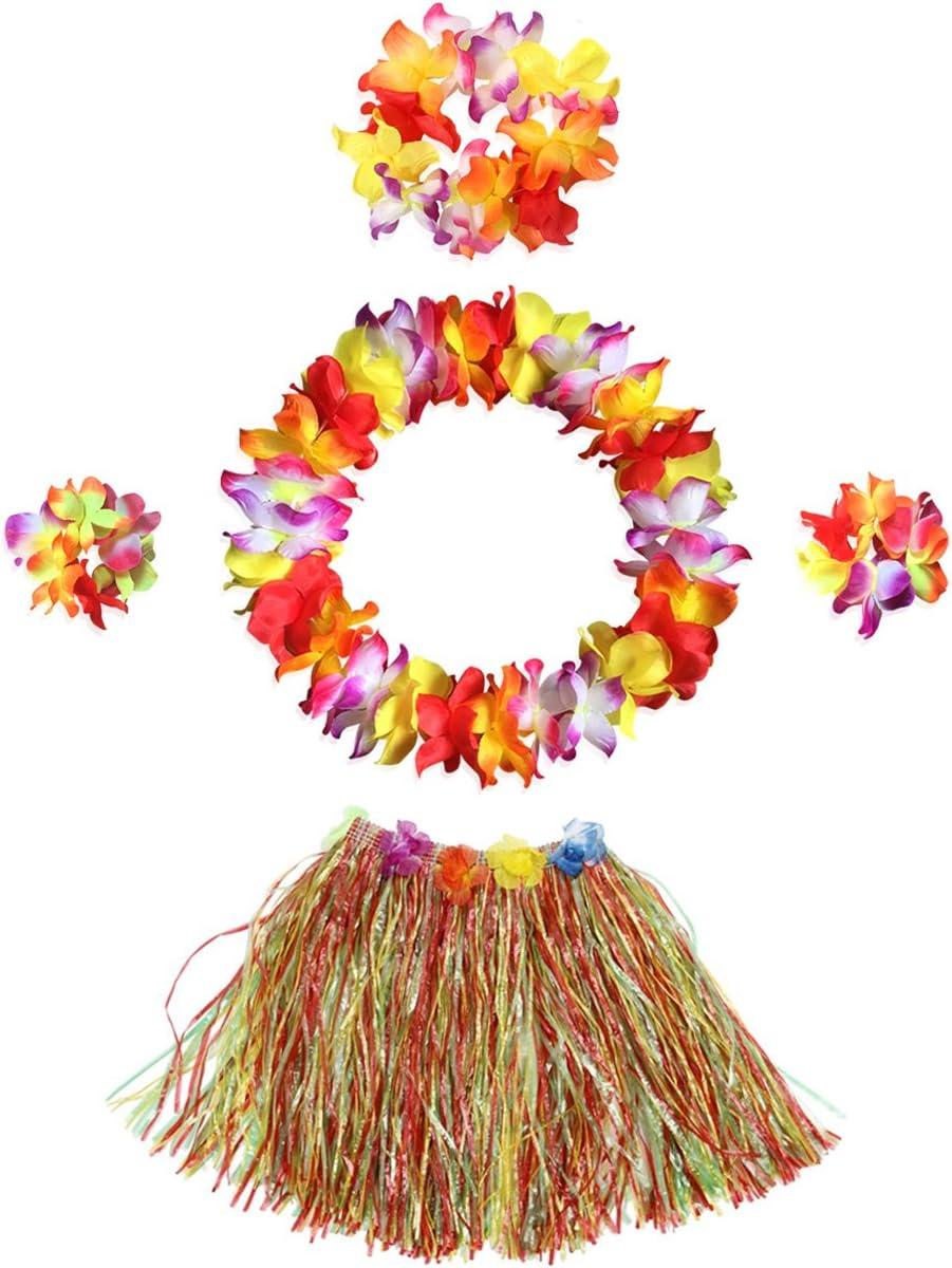 InnoBase Hawaiana Falda de Hierba con Flores Hula Lei Guirnalda ...