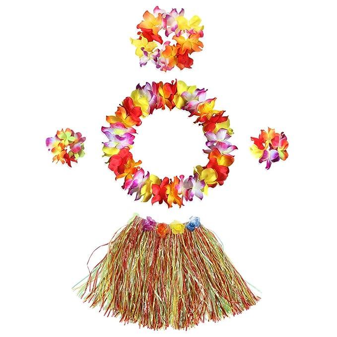 InnoBase Hawaiana Falda de Hierba con Flores Hula Lei Guirnalda Kit Falda de Hierba Elásticas y Flores Pulseras, Diadema, Collar para Luau Beach Hawai ...