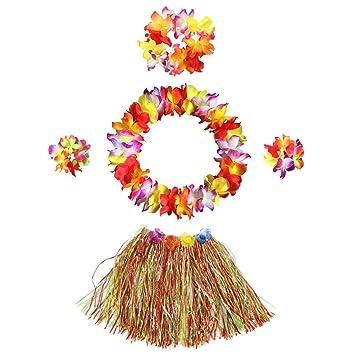 5f5a2252564c InnoBase Hawaiian Hula Grass Skirt with Flower Leis Costume Set Elastic  Grass and Flower Bracelets Headband
