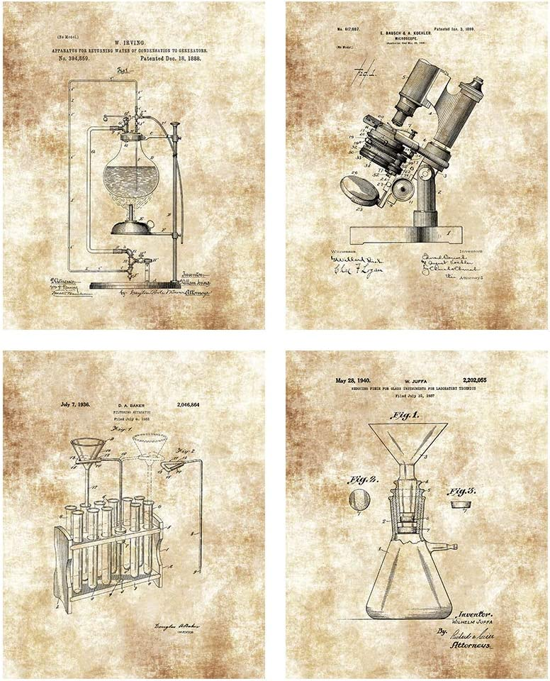 Science Lab Scientific Laboratory Equipment Drawings Artwork - Set of 4 8 x 10 Unframed Patent Prints - Great Gift for Science Teachers, Research Offices and Scientists