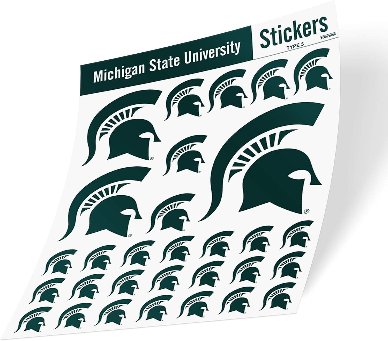 Michigan State University Sticker Vinyl Decal Laptop Water Bottle Car Scrapbook (Type 3 Sheet C)