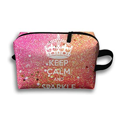 Keep Calm And Sparkle On Travel Bag Toiletries Bag Phone Coin Purse Cosmetic Pouch Pencil Case Tote Multifunction Organizer Storage Bag
