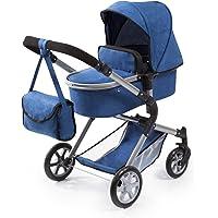 Bayer Design 18135AA Landau pour poupée City Neo avec un sac à bandoulière et un panier, convertible en une poussette, moderne, classique, bleu, jean