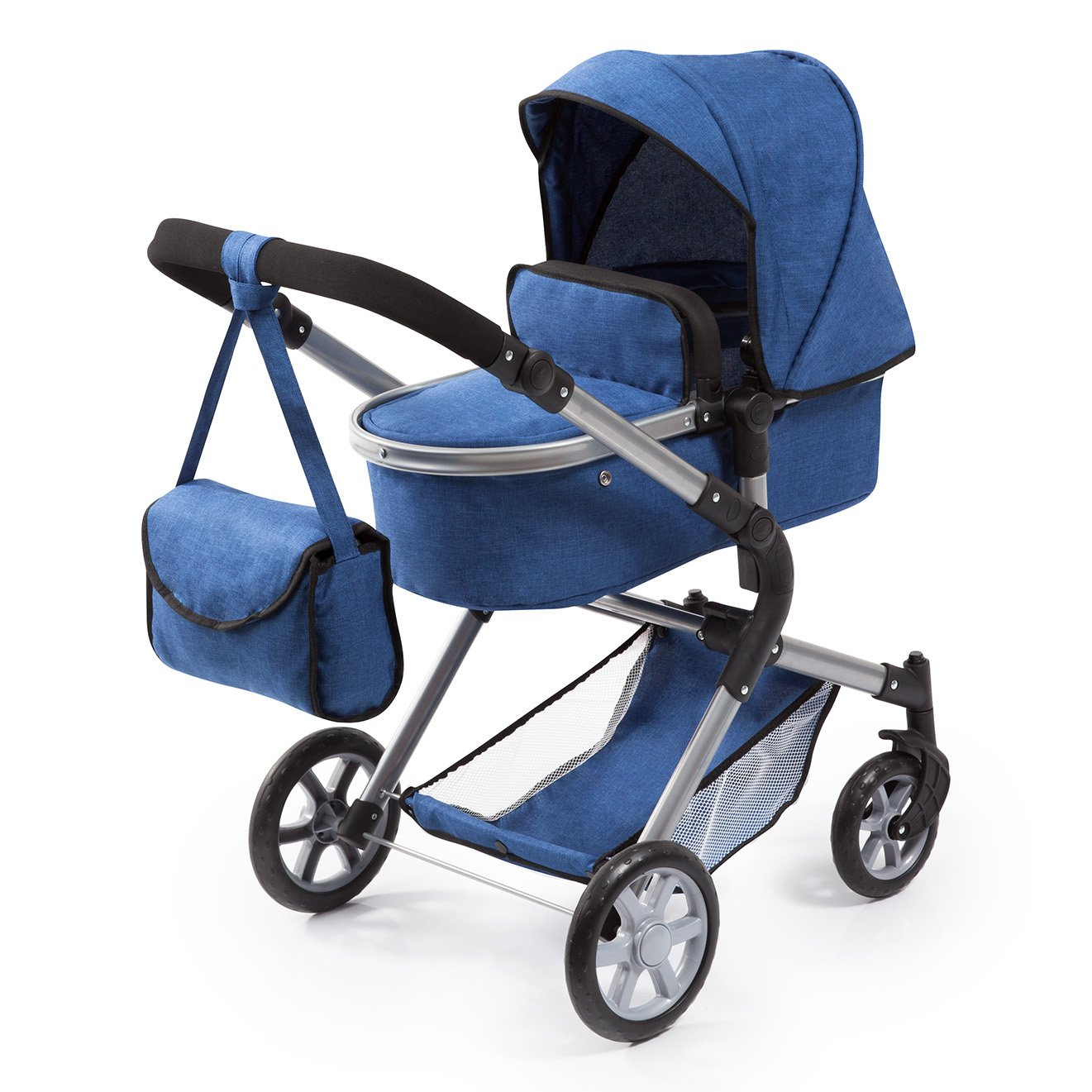 Bayer Design 18135AA City Neo Doll's Pram with Bag and Underneath Shopping Basket, Blue Bayer-Design