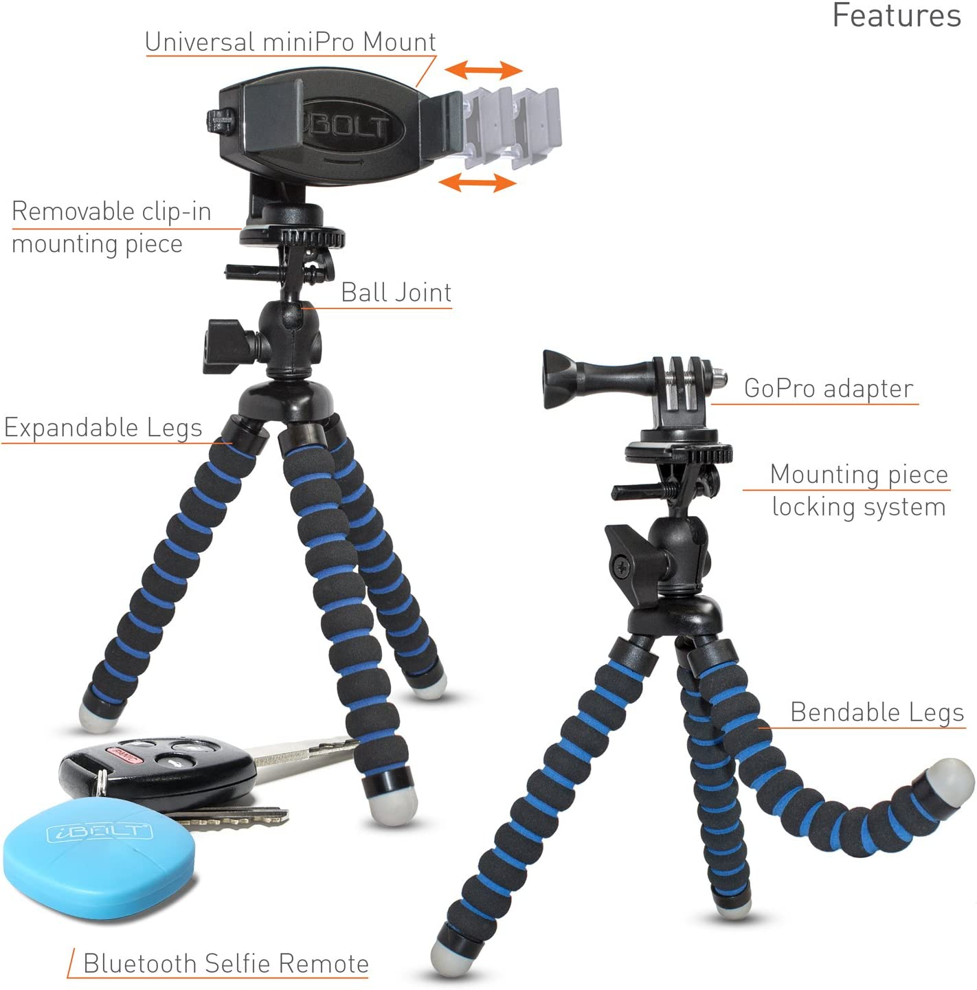 and Universal Selfie Remote- Black iBOLT Sonic Tripod miniPro-IBUS-33816 Flexible 3-in-1 Tripod for Smartphones and GoPros- with Smartphone Holder Cameras GoPro Adapter Camera Screw Adapter