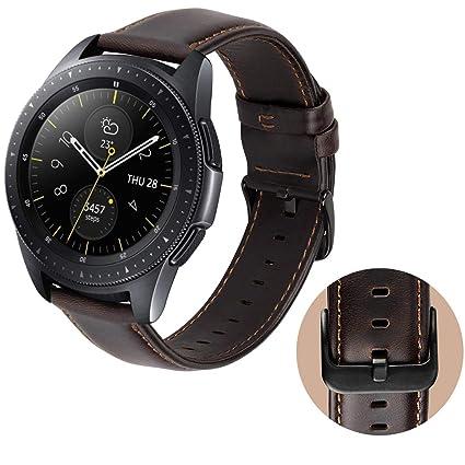 MroTech Bracelet Garmin Vivoactive 3 Cuir véritable, 20mm Bracelet de Remplacement pour Samsung Galaxy Watch