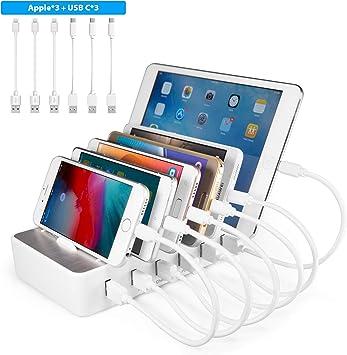 TechDot Estación de Carga USB, Varios Dispositivos, 6 Puertos USB ...