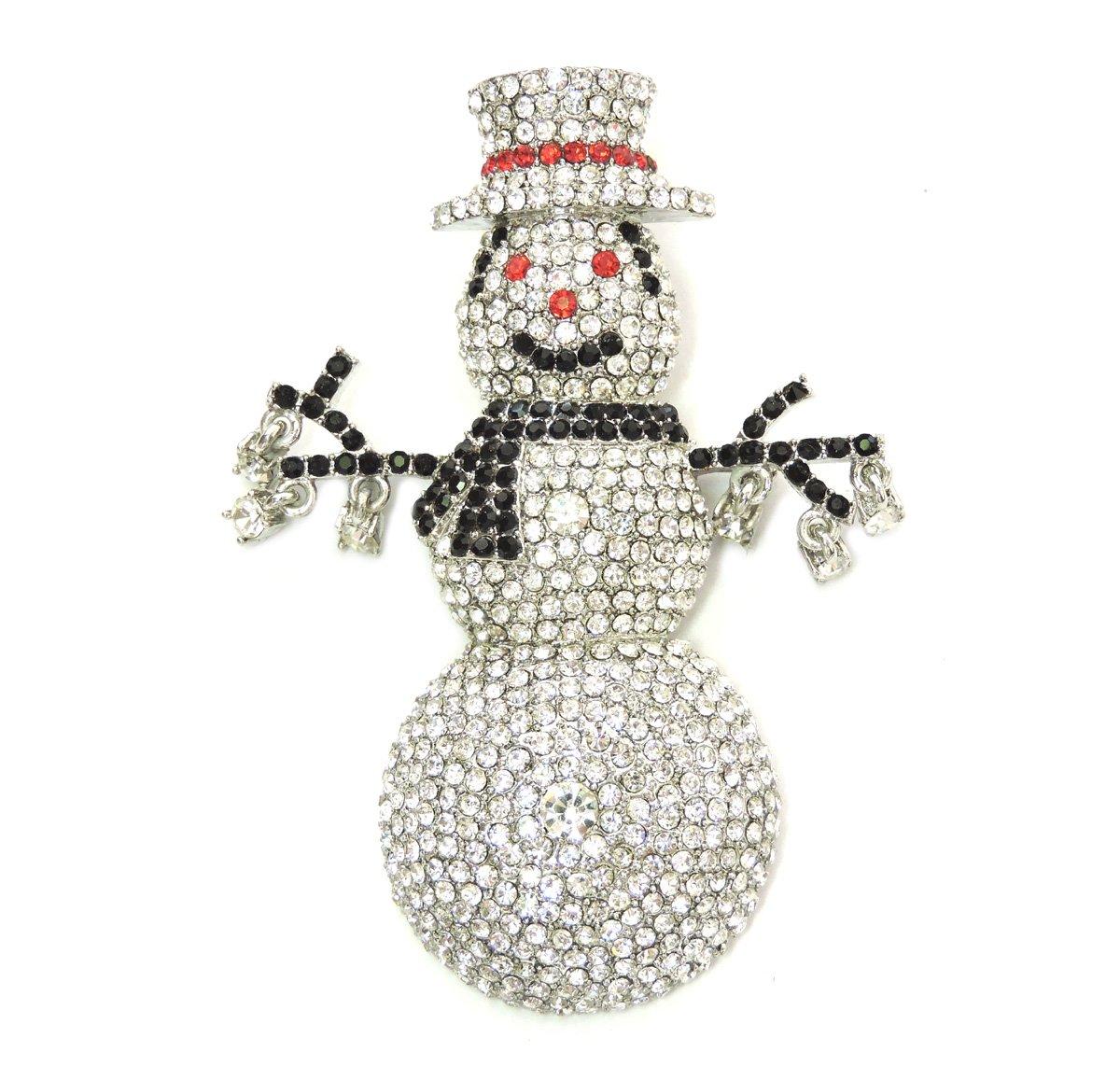 Faship Snowman Pin Brooch Gorgeous Crystal Tall Big