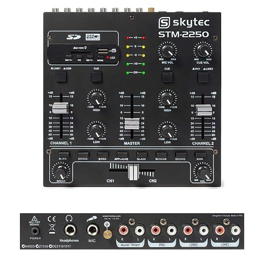 Skytec STM-2250 Mini mesa de mezclas 4 canales USB MP3 efectos ...