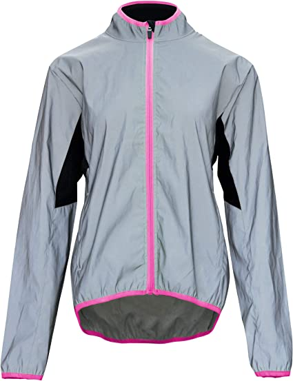 Women's Reflective Safety Running Cycling Jackets Lightweight Windbreaker- Full Hi-Viz Front Zipper & Two Side Pockets