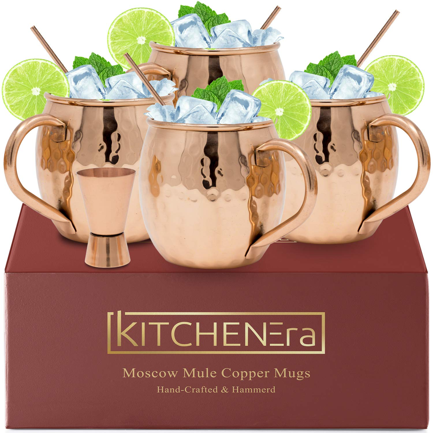 Moscow Mule Copper Mugs - 100% Copper HandCrafted Hammered Moscow Mule Copper Mugs Set of 4 - FREE Jigger - FREE Copper Straws by KitchenEra